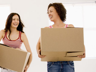 Two girls moving out